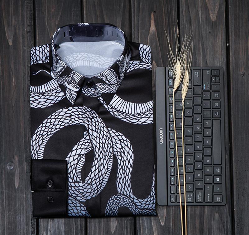 2018 printemps chemises pour hommes Raptor Gothic vent tombent nouvelle Slim chemise hommes Star modèles mode M. manteau