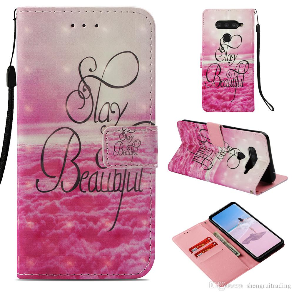 brand new 6efb0 277d1 3D Printed Patterns Flip Wallet Phone Cover Case For LG V40 ThinQ / X  Power3 Power 3