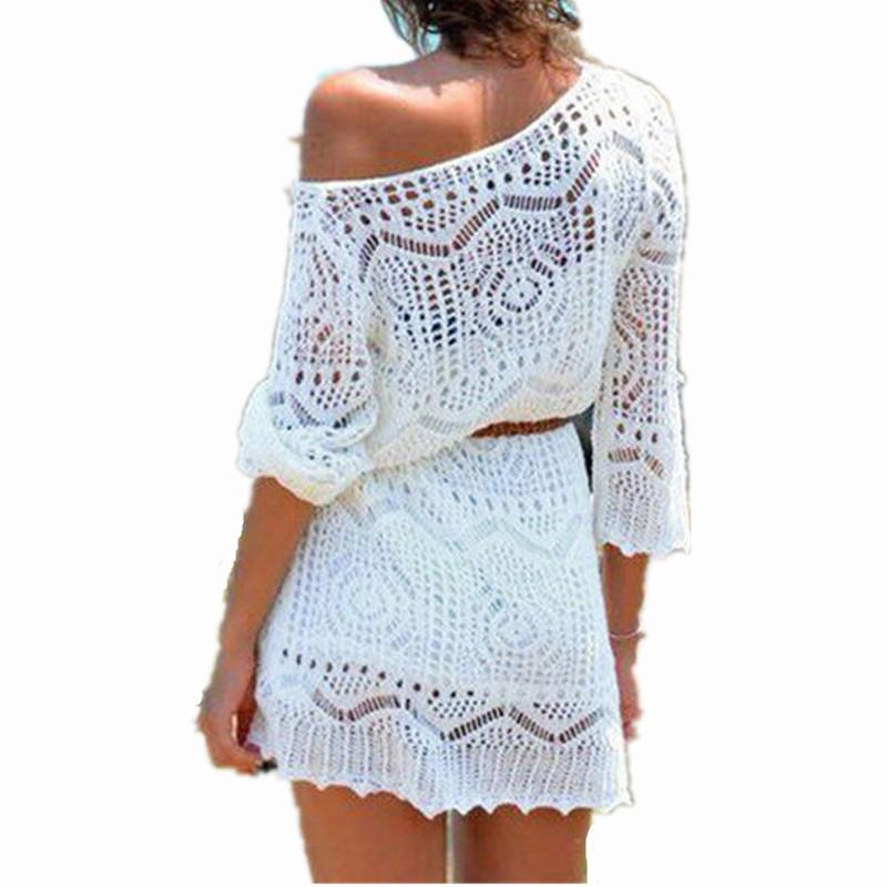 2018 Mini Dress Plus Size Sexy Women Lace Crochet Dress 2018 Summer