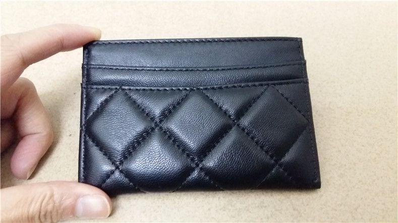fashion business card bags genuine leather thread criss-cross diamond lattice black card holders women carteira feminina