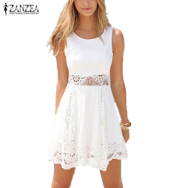 6f23eb6c3 Compre Zanzea 2018 Verano Estilo Blanco Vestido De Mujer Casual Encaje  Sólido Sin Tirantes Sexy Una Línea Corta Mini Vestidos Vestidos Y1890812 A   23.44 Del ...