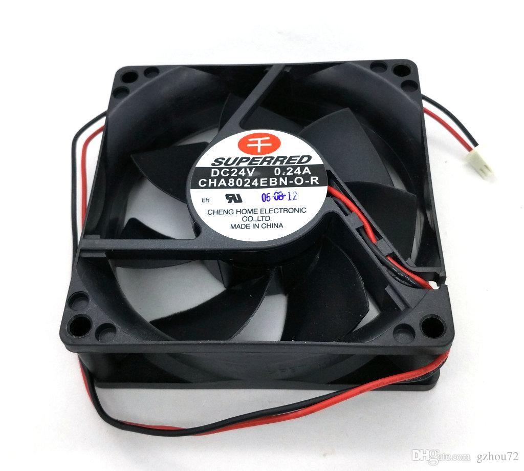 New Original SUPERRED CHA8024EBN-O-R DC24V 0.24A 80 * 80 * 25MM Dual Ball Bearing Inverter ventilador de refrigeração