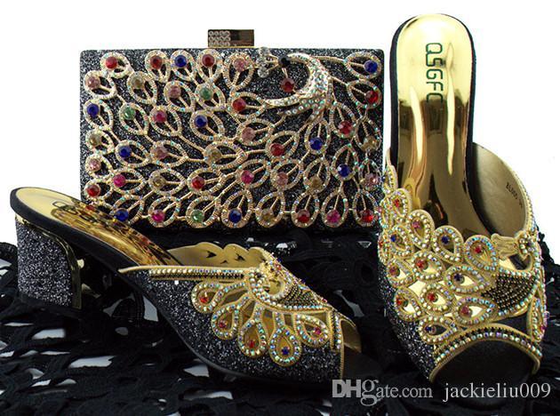 Fashoionable prata mulheres sapatos jogo saco conjunto com rhinestone projeto pavão africano sapatos e bolsa para vestido BL005, calcanhar 8 CM