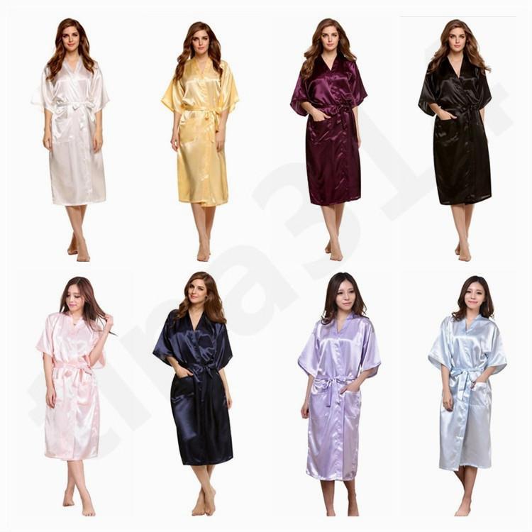 Women Sleepwear New Product Emulation Silk Robe Summer Pure Color ... fe182ea87