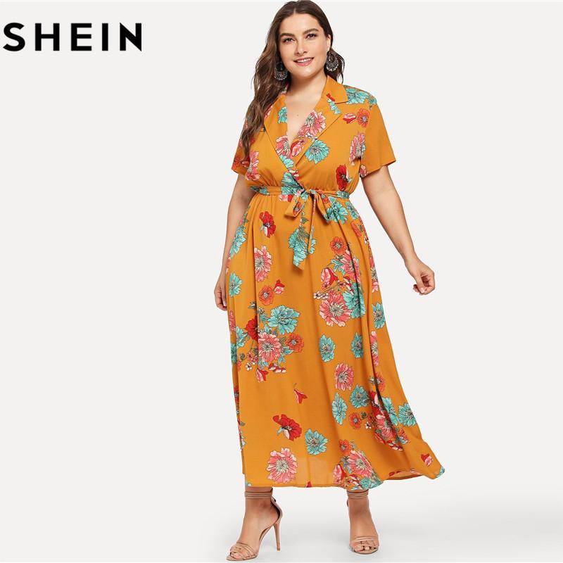 93387fbaa6 2019 SHEIN Floral Print Bohemian V Neck High Waist Plus Size Maxi Dresses  2018 Mustard Notch Collar Belted Botanical Beach Long Dress From Gloriana,  ...