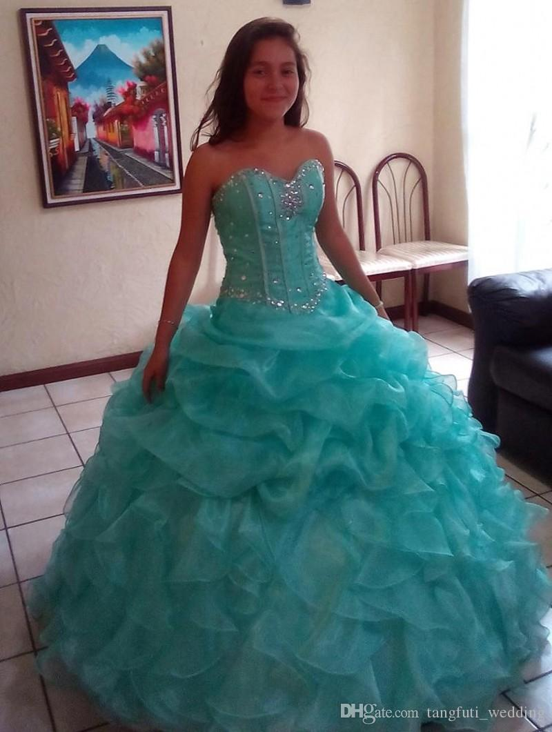 c1c29076929 Ruffled Mint Green Quinceanera Dresses Ball Gown With Bead Sweet 16 Dresses  Vestidos De 15 Anos Prom Party Gowns Design Your Own Quinceanera Dress  Online ...