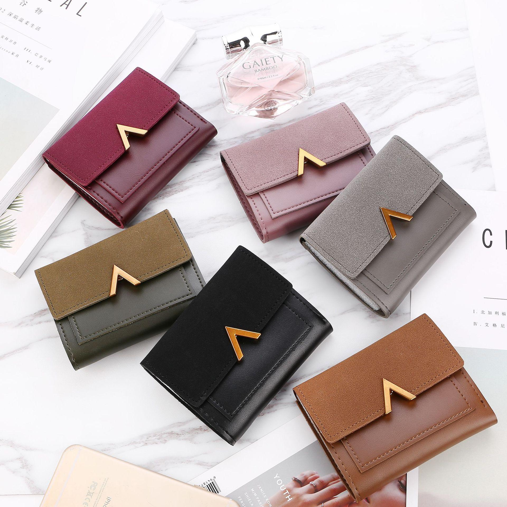 1df718addaef Matte Leather Small Women Wallet Luxury Brand Famous Mini Womens Wallets  And Purses Short Female Coin Purse Credit Card Holder