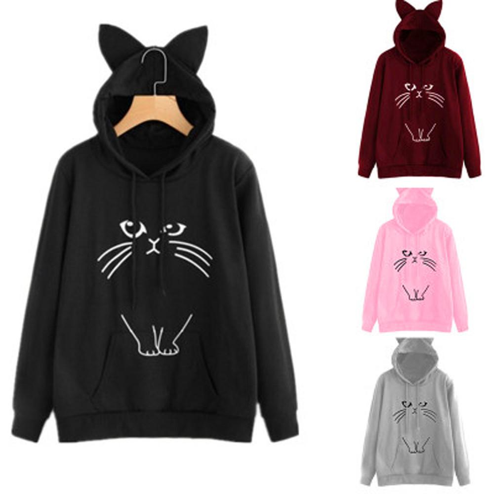 6b1ba5a290f00 2019 Good Quality Cute Womens Sweatshirts Hoodie Crop Tops Solid Cat Ear  Long Sleeve Cropped Sweatshirt Hooded Pullover Tolstovka  L From Modeng05