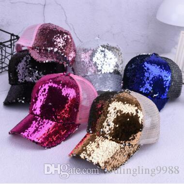 543b0df6a98 Fashion Mermaid Sequins Baseball Hats Summer Mesh Cap Casual Ball ...