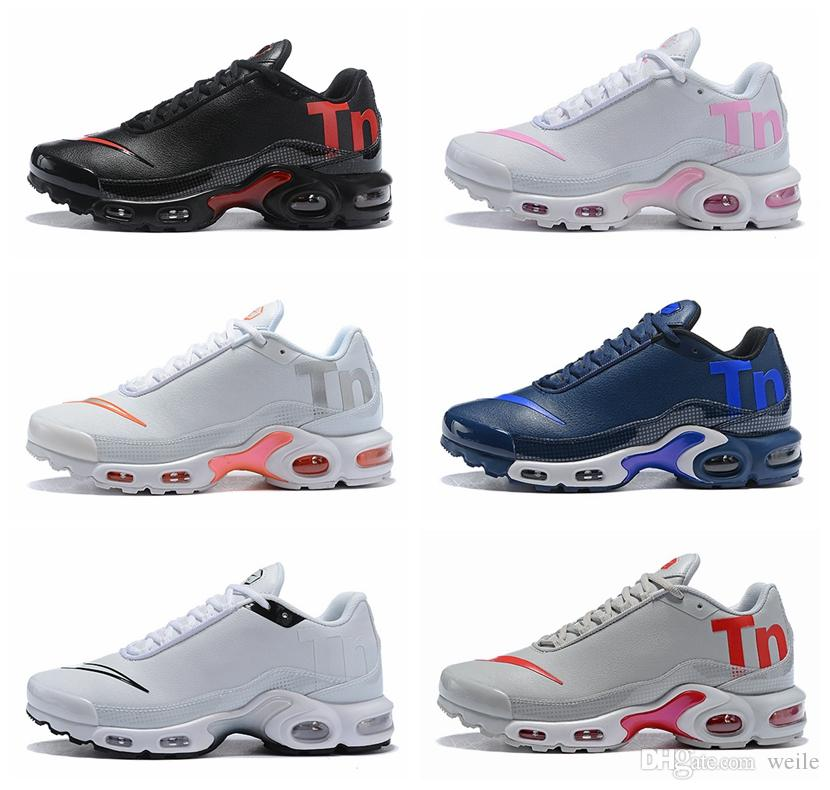 100% authentic 3bec8 3cfe4 2018 New Mens Womens Mercurial Plus Tn Ultra SE Black White Pink Desinger  Running Shoes Leather Men Tns Sports Outdoor Trainers Sneakers