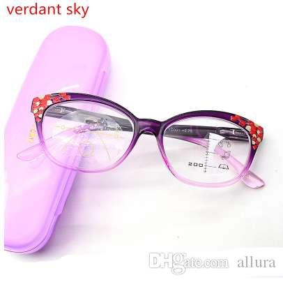 1183ae799 Compre Óculos De Leitura Multi Focal Progressiva Mulheres Dioptria Eyewear  Gato Óculos De Leitura Mulheres Com Caixa +100 +150 +200 +250 +300 De  Allura, ...
