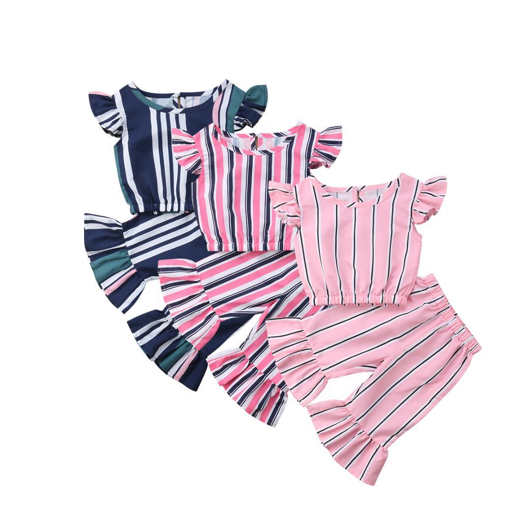 baa4d53b9 2019 Emmababy Cute Kids Baby Girls Striped Crop Tops T Shirt Long Pants Outfits  Casual Clothes From Cornemiu, $43.54 | DHgate.Com