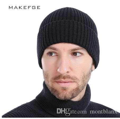 Wool Men S Winter Hats Fashionable Knit Black Hats Autumn Hats Thick And  Warm Skullies Peas Soft Knitted Woolen Cotton Winter Hats Beanie Hats From  ... c3827be80b1