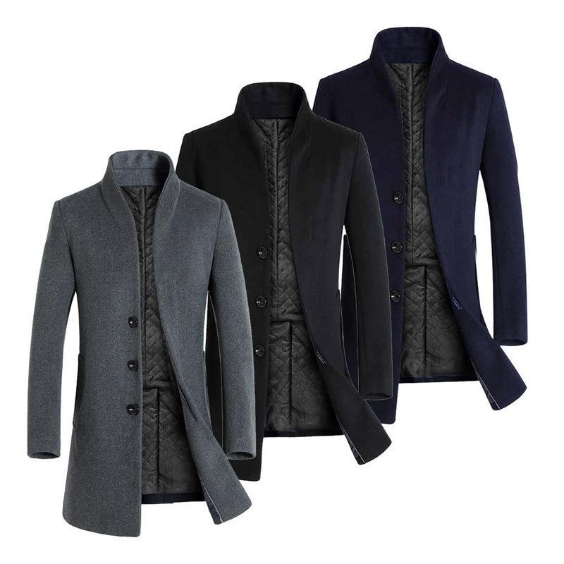 1375f970bb2 SHUJIN 2018 Vintage Gothic Jackets Autumn Winter Men Casua Coat Thicken  Woolen Trench Coat Business Male Classic Long Overcoat C18110701 Online  with ...