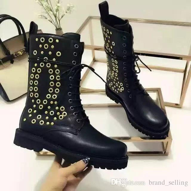 Woman's Genuine leather boots British style ankle Martin boots, round-bottomed and velvet Military style rivet shoes women's boots