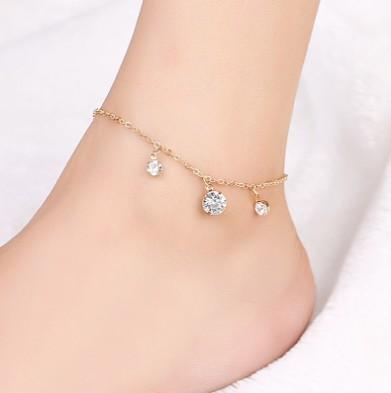 Fashion CZ Stone Charm Ankle Bracelets Gold Tone Ankle Chain Yoga Dancing Ankle Chain