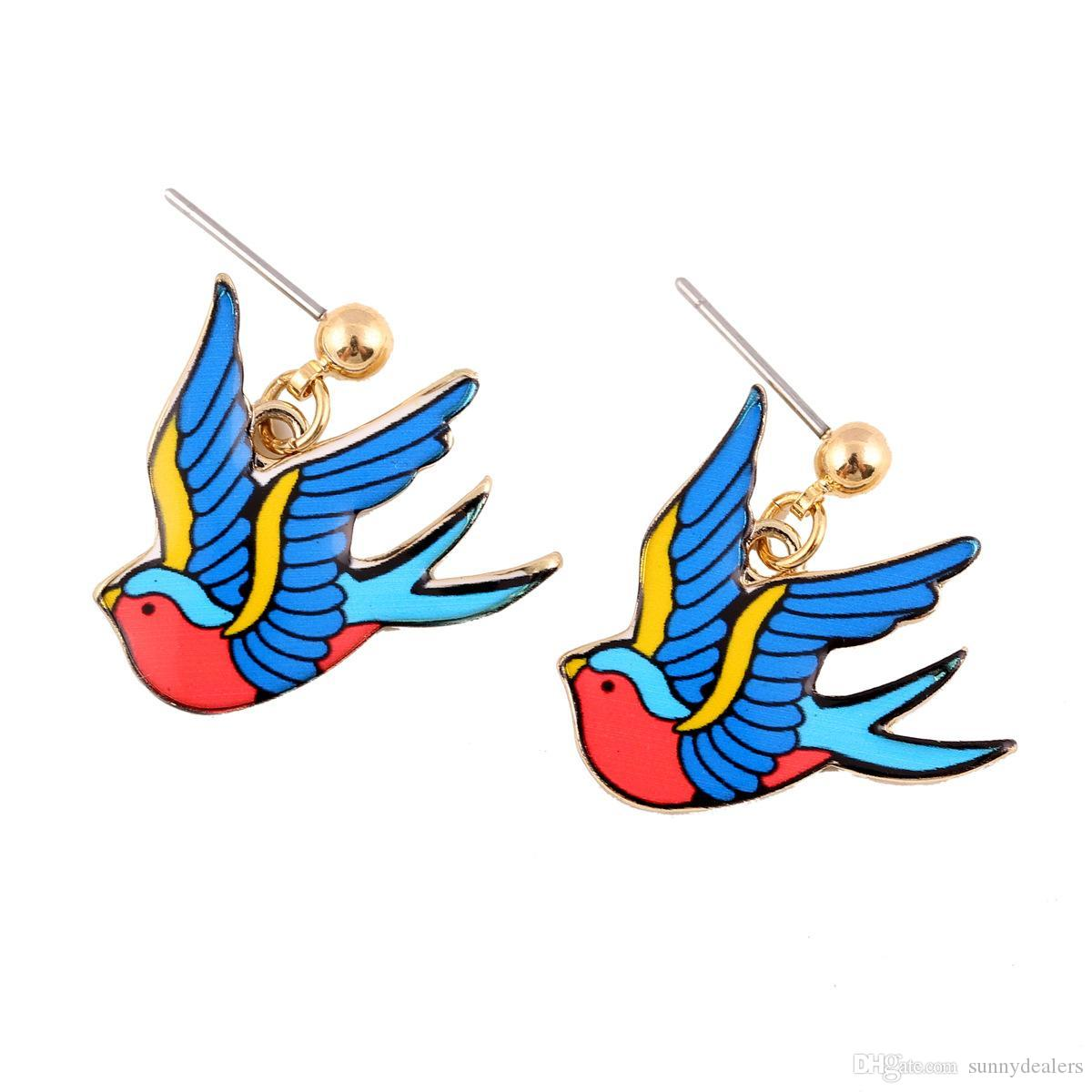 Hot Girls Stud Earrings Mini Swallow Shape Earrings 23*23mm Alloy Bird Multicolor Bird Stud Earrings For Women Jewelry