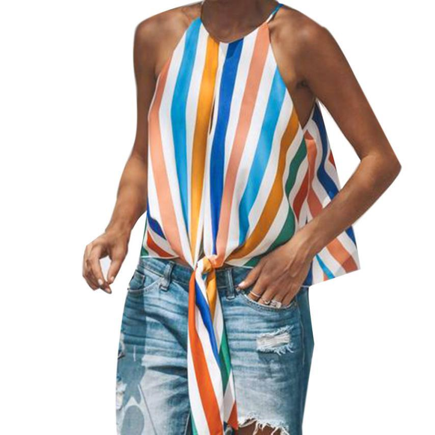 ad92c26e886 2019 2018 Tank Top Women Bandage Striped Cami Casual Vintage Fashion Beach Sleeveless  Top Women Summer Female Blouse Haut Femme 61 From Bailanh, ...