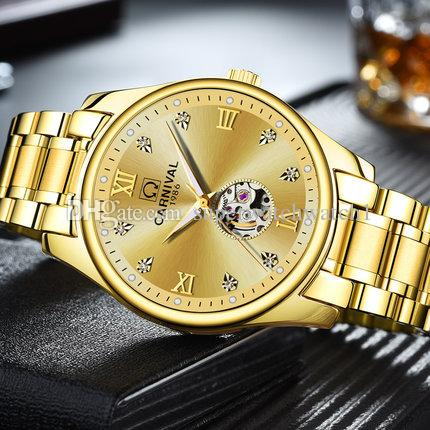 Uhr Vollautomatische Multifunktions Männer Leuchtende Mechanische Herrenuhr Hohlen 8790 Wasserdicht Carnival Gold N8wPy0vmnO