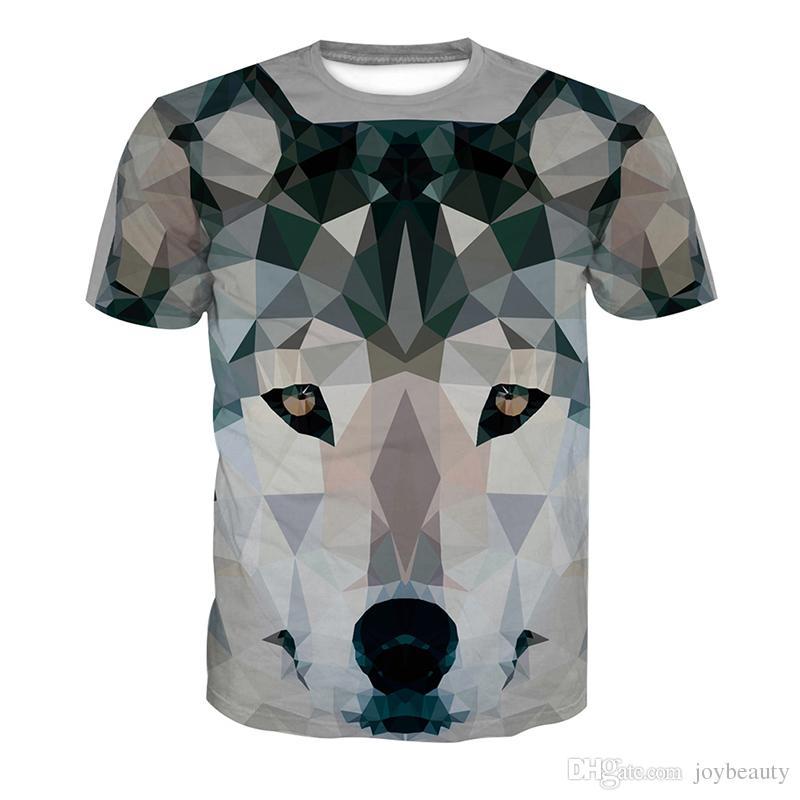 Casual Tee Loup Man Tops Full Print De Shirt Acheter Homme Tete 3d JuTFl1Kc35
