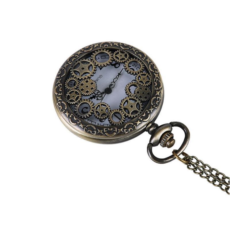 AAA Retro Design Pocket Watch Hollow Gear Fob Watch Vintage Bronze Pocket Watch Necklace Chain Pendant Girt For Women Men