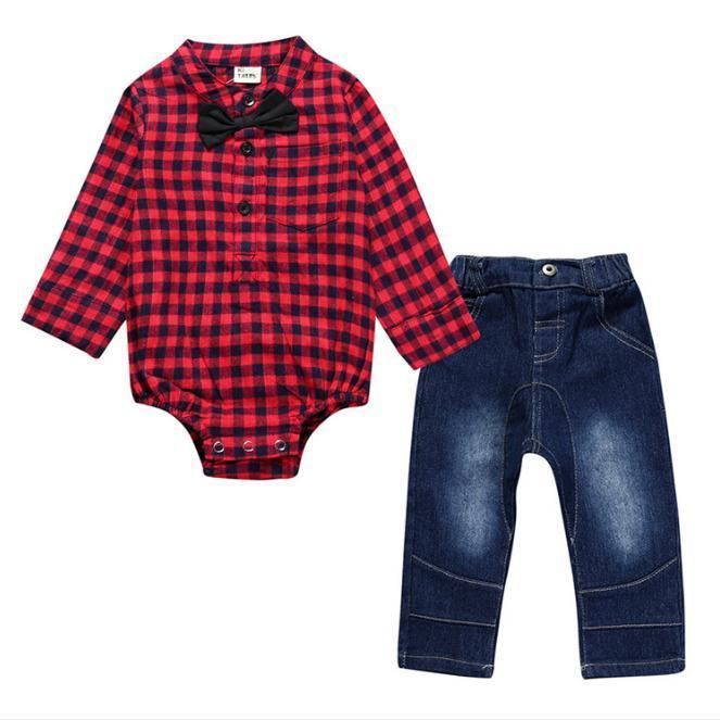 d8fb4d89bebc9 Compre Ropa Para Bebés Bebés Varones Manga Larga Camisa A Cuadros Mameluco  + Pantalones Pantalones 2 Unids 2018 Otoño Ropa De Bebé A  11.56 Del ...