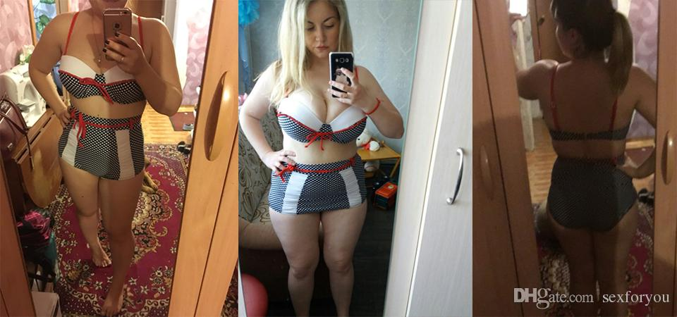 Plus la taille maillot de bain 2019 sexy bikini femmes maillots de bain taille haute push up bikini set dot maillots de bain XXXL