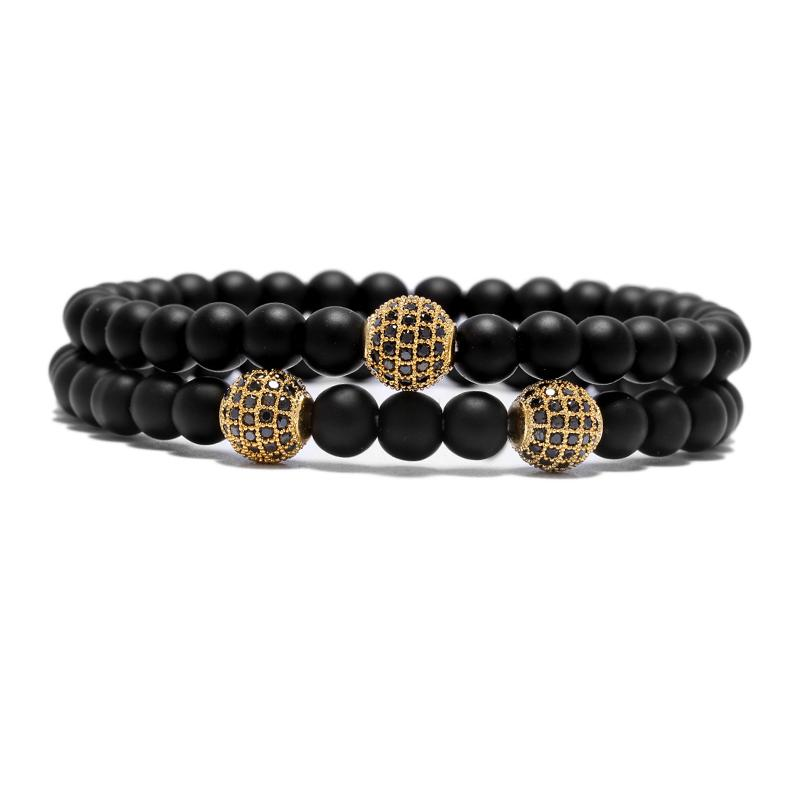 Black Natural Stone Beads Bracelet sets Fashion Shambala Charm Yoga Strand Chain For Men Cool Biker Hand Jewelry Pulsera