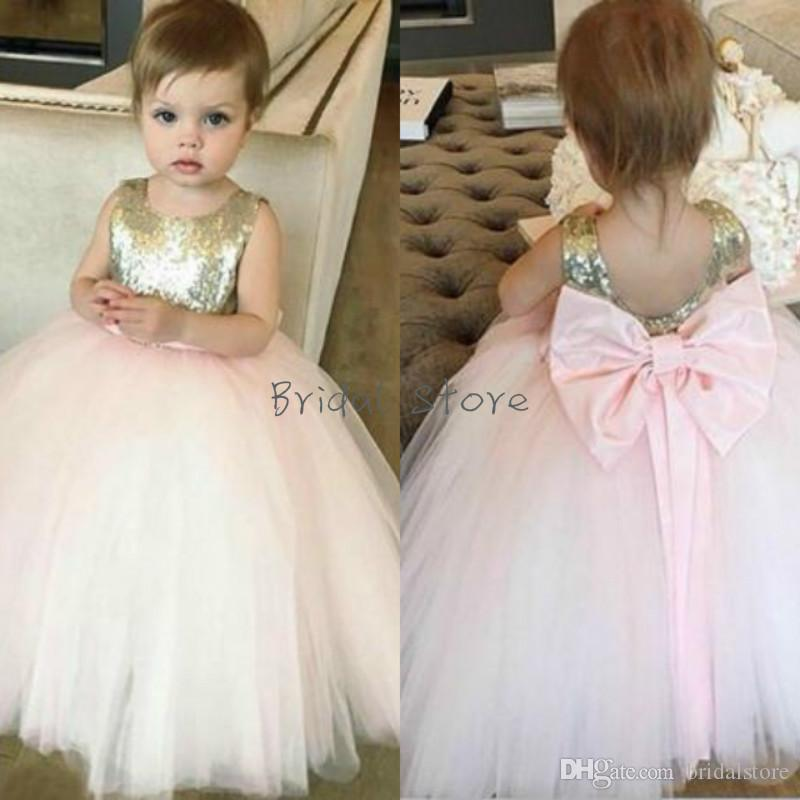 a60a195b73 Pink Puff Sequins Baby Toddler Flower Girl Dresses Tulle Backless Little  Girls Pageant Dresses With Big Bow Garden Fall Communion Gown 2t 3t