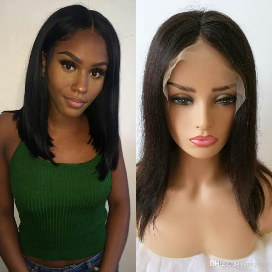 Brazilian Straight Lace Front Wig for Women Natural Color Short Full Lace Human Hair Bob Wigs Middle Part 8-14 inch Ping