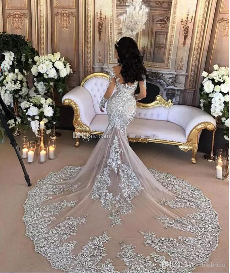 Abito da sposa a sirena argentato a maniche lunghe sexy con collo alto e paillettes applique paillettes in rilievo arabo saudita abito da sera posteriore bottonato