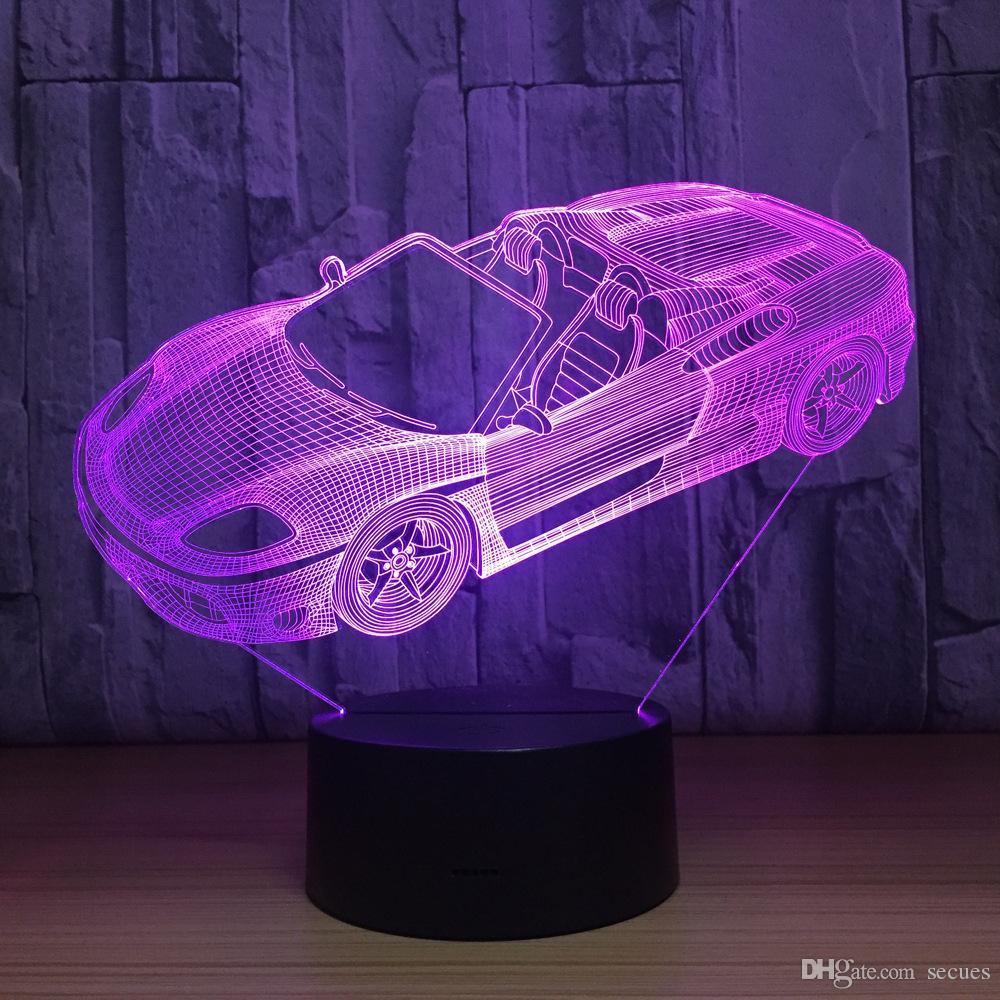 Cool Sports Car 3D Lámpara de ilusión óptica Luz nocturna DC 5V Carga USB 5ª batería Dropshipping al por mayor Envío gratuito