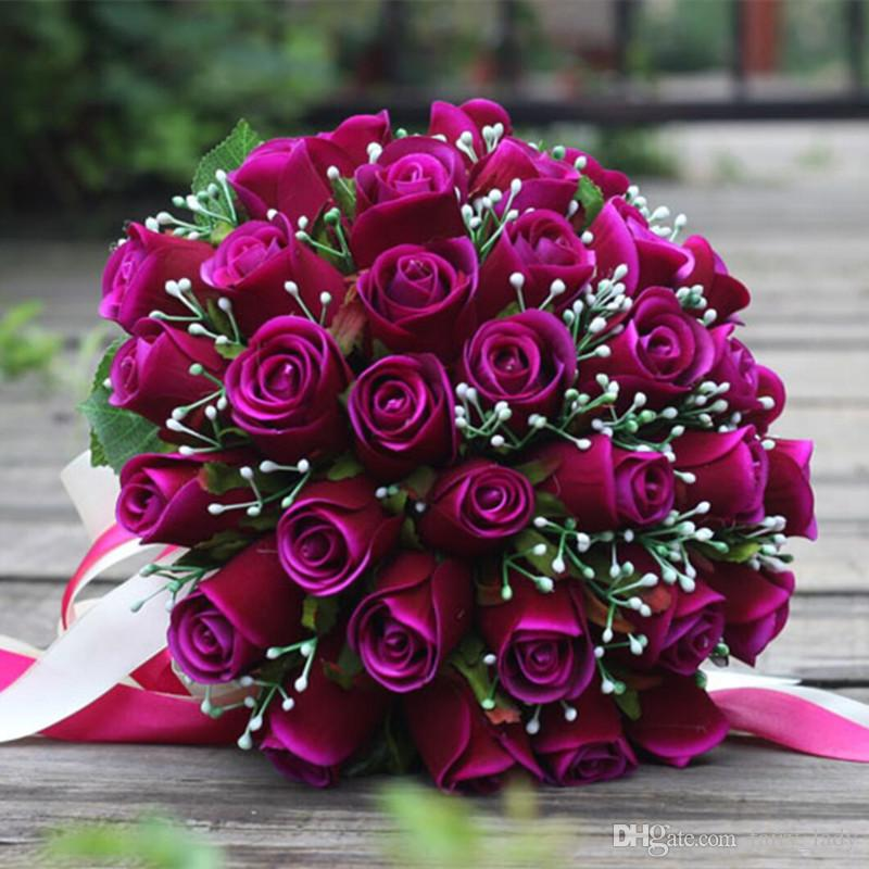 Amazing Wedding Bouquets For Bride Bridesmaid 2018 Hand Made White Red Pink Purple Artificial Rose Bridal Flowers Bouquet Casamento
