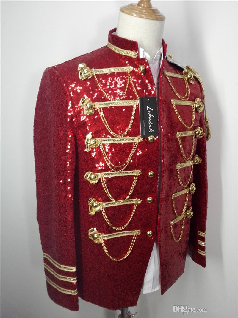 2018 Prom Party show stage Costumes Red sequins Chain Male Jacket Fashion slim Men's Coat outerwear Bar Nightclub singer show stage Outfit