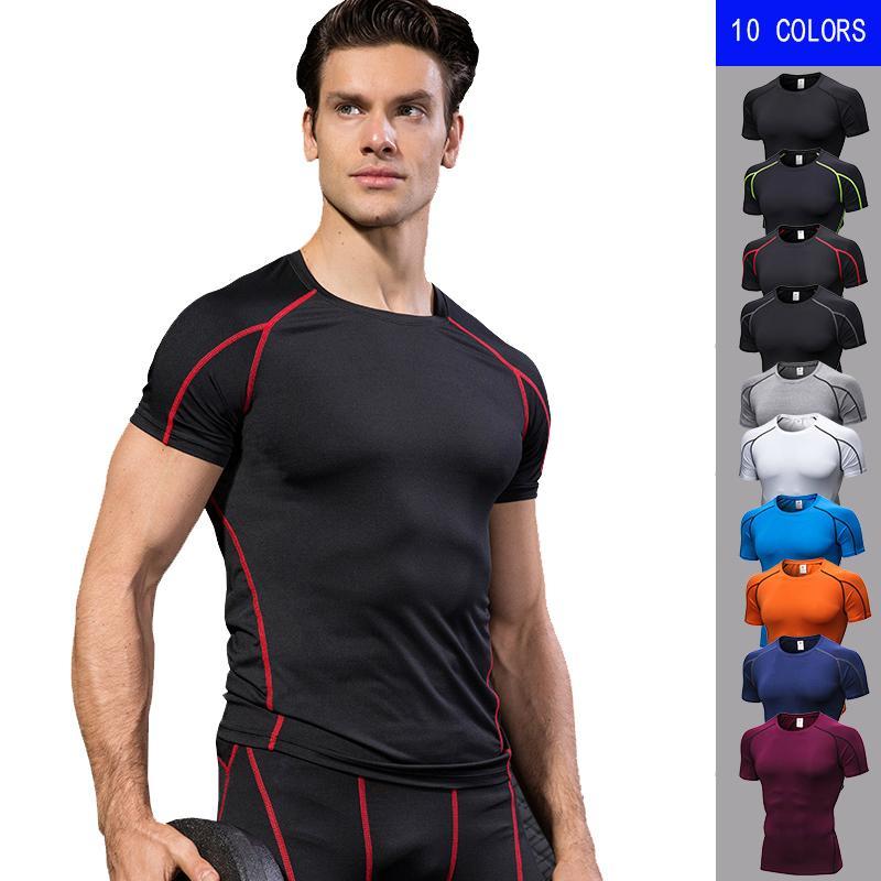 Compre Quick Dry Running Camisa Dos Homens De Fitness Compressão Apertada  Top De Manga Curta Camisa Esporte Homens Ropa Deportiva Hombre Ginásio  Tshirt 10 ... c08c7fc14eef2