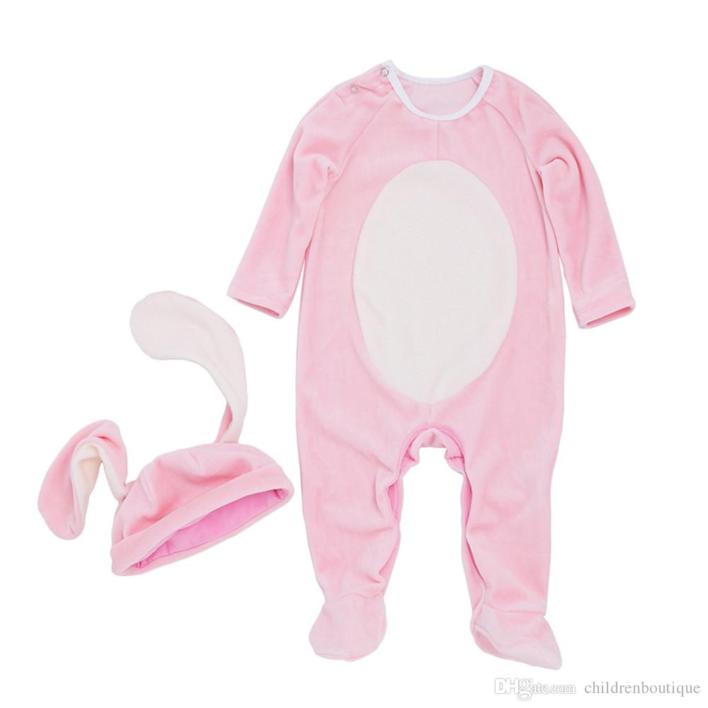 7d9e6e3d3 2019 2018 Baby Clothes New Overalls Jumpsuit Pink Rabbit Winter Baby ...