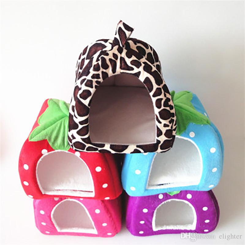 Dog House Foldable Soft Warm Leopard Print Strawberry Cave Bed Pet Dog House Cute Kennel Nest Fleece Cat Tent for Small Dog