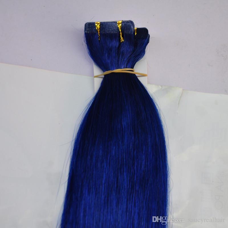 Cinta de color azul de la trama de la piel del pegamento de 200g en extensiones del pelo 16 18 20 22 24 pelo humano de Remy indio brasileño de la pulgada