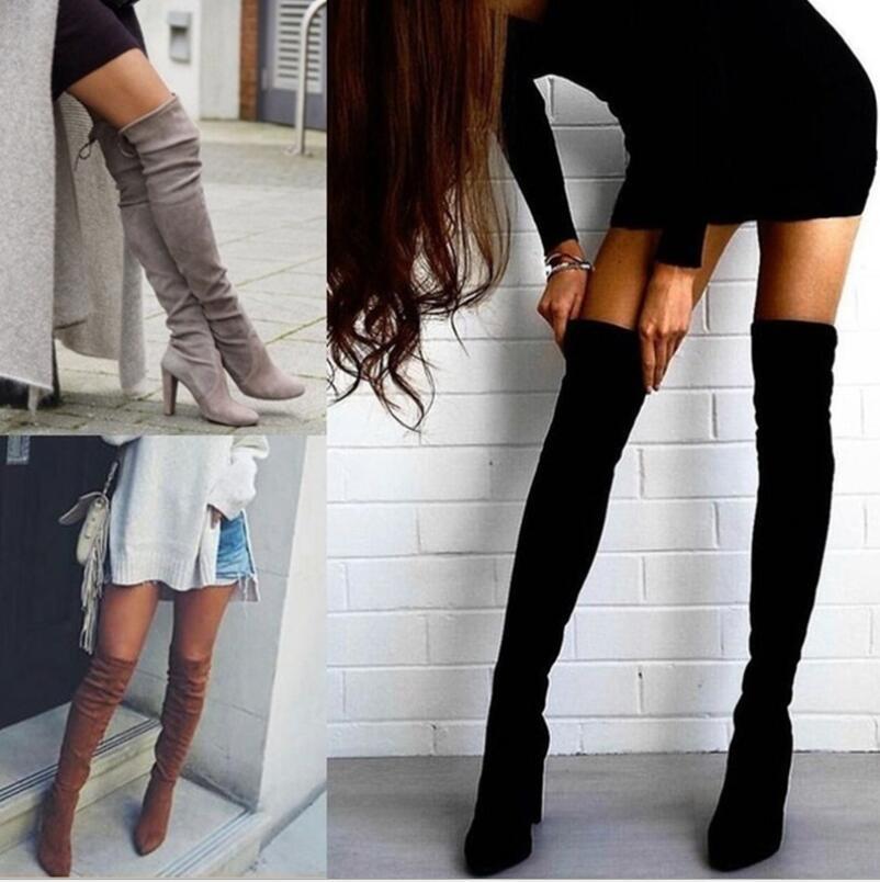 a00d402bf Compre 2019 Novos Sapatos Mulheres Mais De Joelho Botas Altas Pretas Sobre  As Botas Do Joelho Sexy Feminino Outono Inverno Lady Coxa Alta Tamanho 34  43 De ...