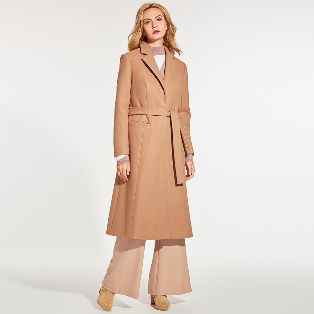 5560f032ff Compre Young17 Otoño Abrigo De Mujer Camel Dama De Oficina Elegante  Patchwork Cinturón De Bolsillo Con Cuello En V Abrigos De Invierno Moda De  Otoño Delgado ...