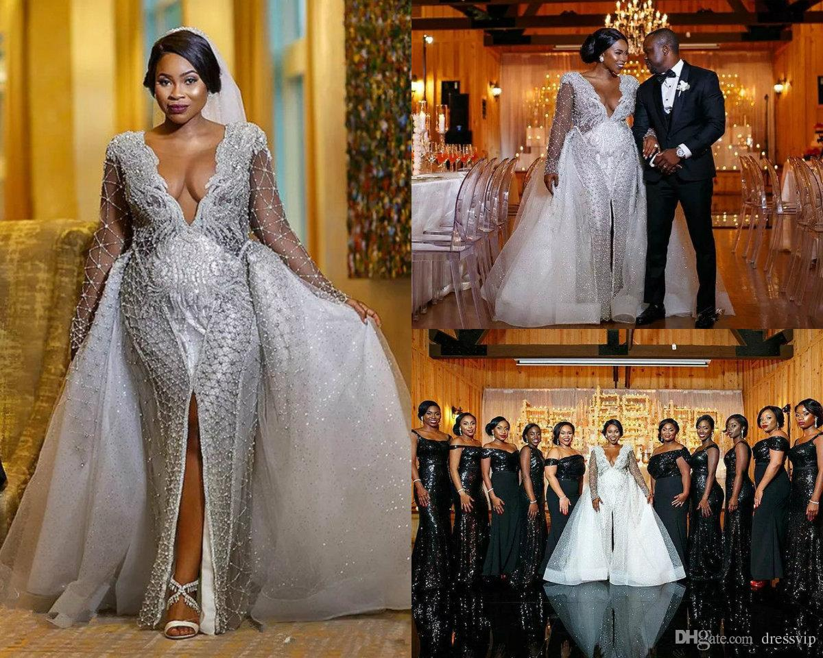 6a206ad51e7 African Plus Size Wedding Dresses Deep V Neck Full Bling Be Applique Front  Split Long Sleeve
