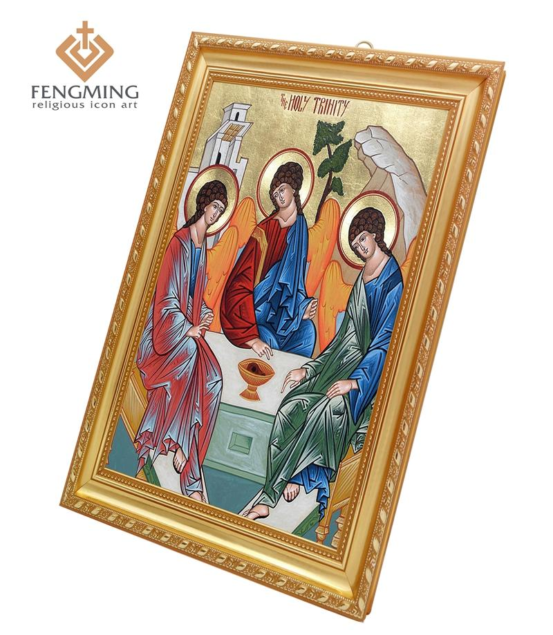 Orthodox Church Supplies Classic Wall Decoration Religious Picture Icon of the Holy Trinity Plastic Frame Russian Byzantine Art