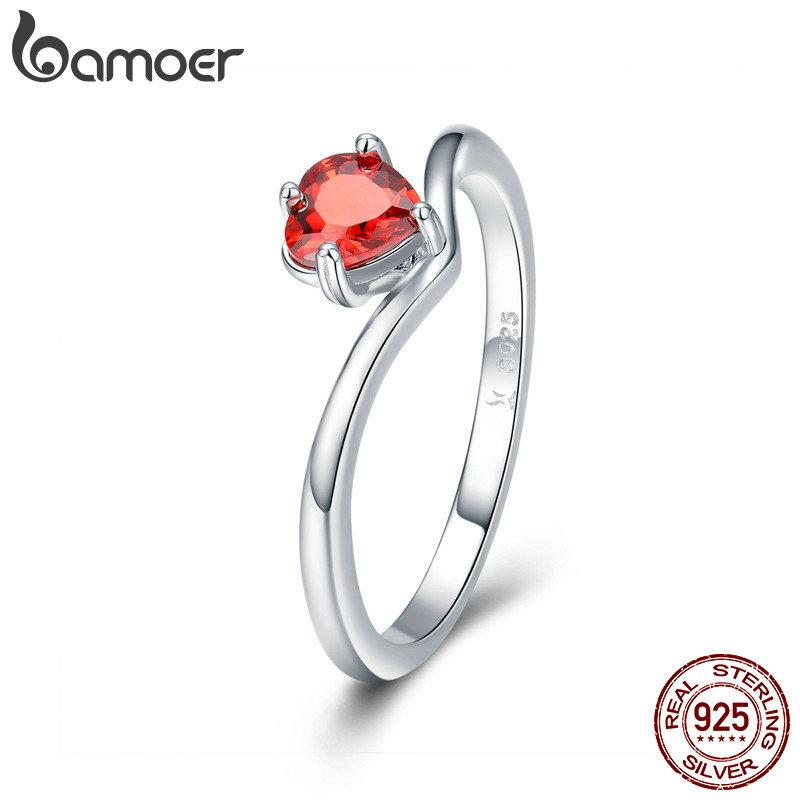 f6ea1f0fe0 2019 Romantic Red Orange Love Heart Shape Cubic Zircon Finger Rings Beauty Girl  Women Wedding Anniversary Party Birthday 925 Sterling Silver Gift From ...