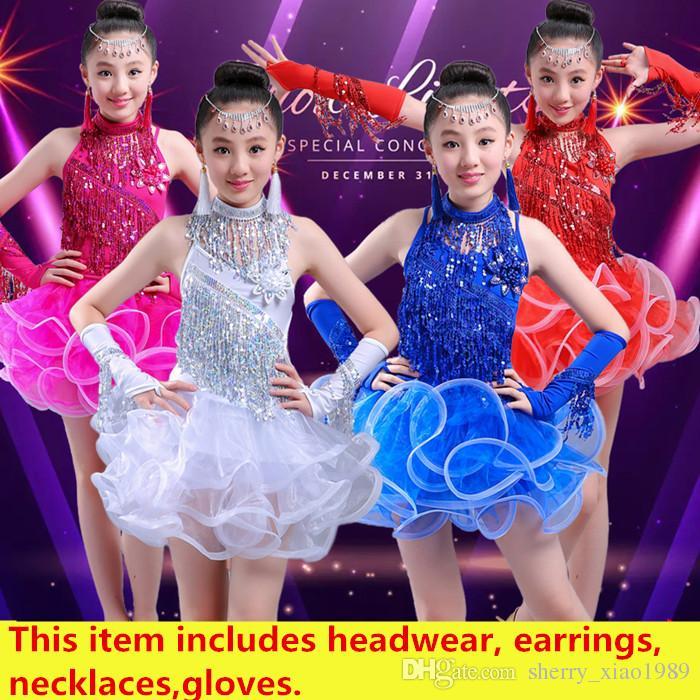 7d80a250bf56a 2019 White Blue Children Kids Girls Latin Dance Dress Sexy Sequin Tassel Salsa  Cha Cha Tango Ballroom Costumes Practice Dance Dress From Sherry_xiao1989,  ...