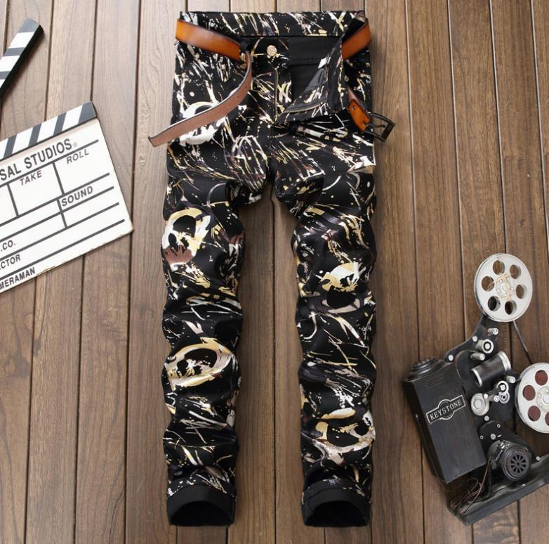 Men's fashion 3D Digital graffiti print jeans Male colored drawing painted slim Nightclubs pants Strech long trousers #5007