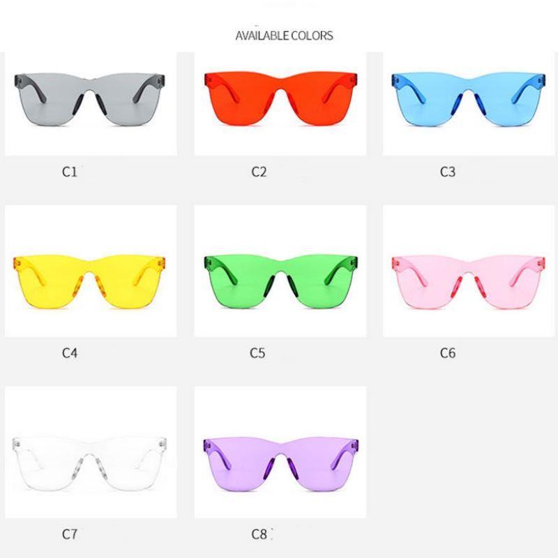 Nouvelles lunettes de soleil de mode sans bouclier Femmes lunettes de soleil Candy Couleurs One Piece Lunettes de soleil Élégant Hommes Et Femmes Lunettes 8 Couleurs