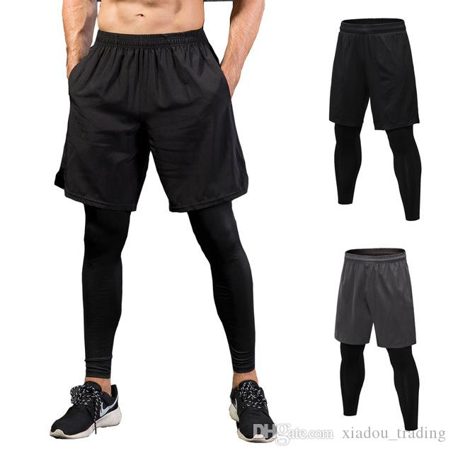 71d15371 2019 Men Skinny Running Pants False Two Pieces Shorts Leggings Fitness  Sport Pants Quick Drying Elastic Jogging Tights Men Sportswear Plus Size  From ...