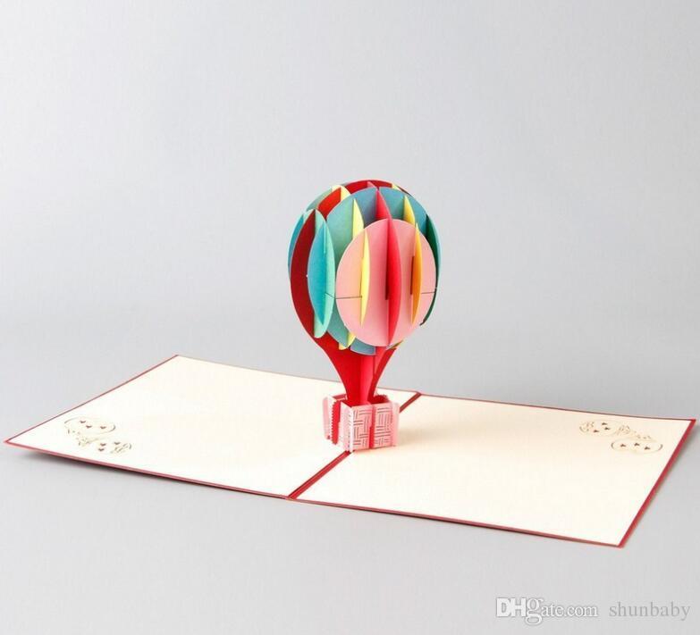 3D pop up cartes couleur ballon créatif cadeaux carte postale anniversaire Saint Valentin cartes de voeux avec enveloppe