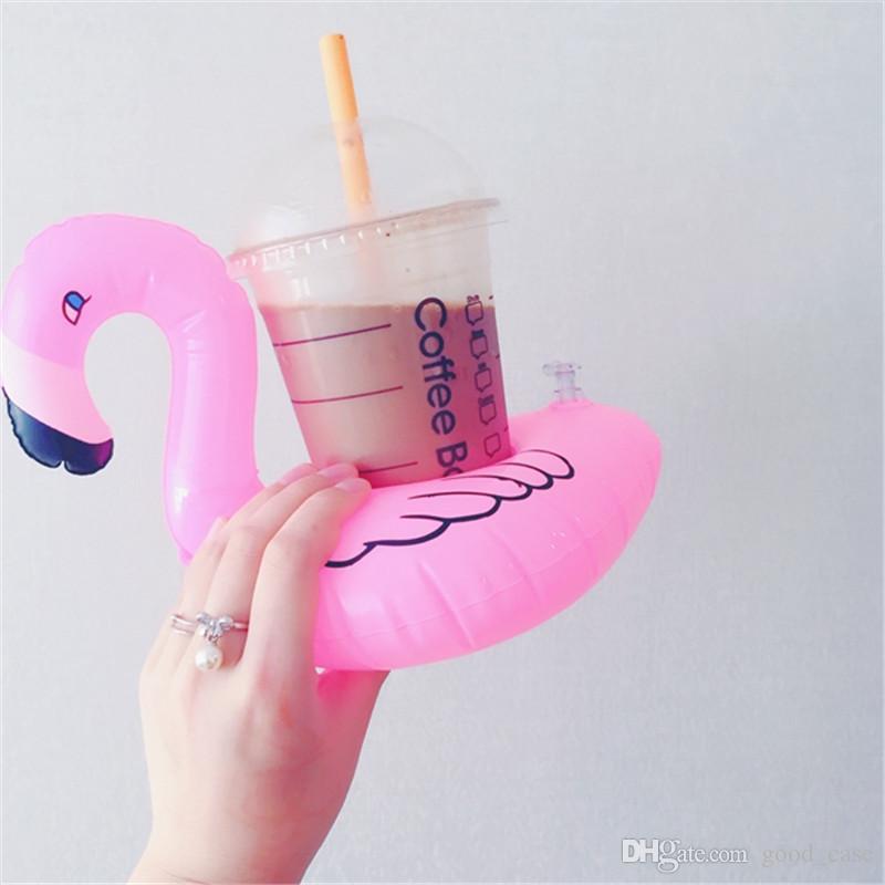 INS PVC Gonflable Flamingo Boissons Porte-gobelet Piscine dessin animé Floats Floating Drink tasse stand anneau Bar Sous-verres Enfants jouet de bain nageant