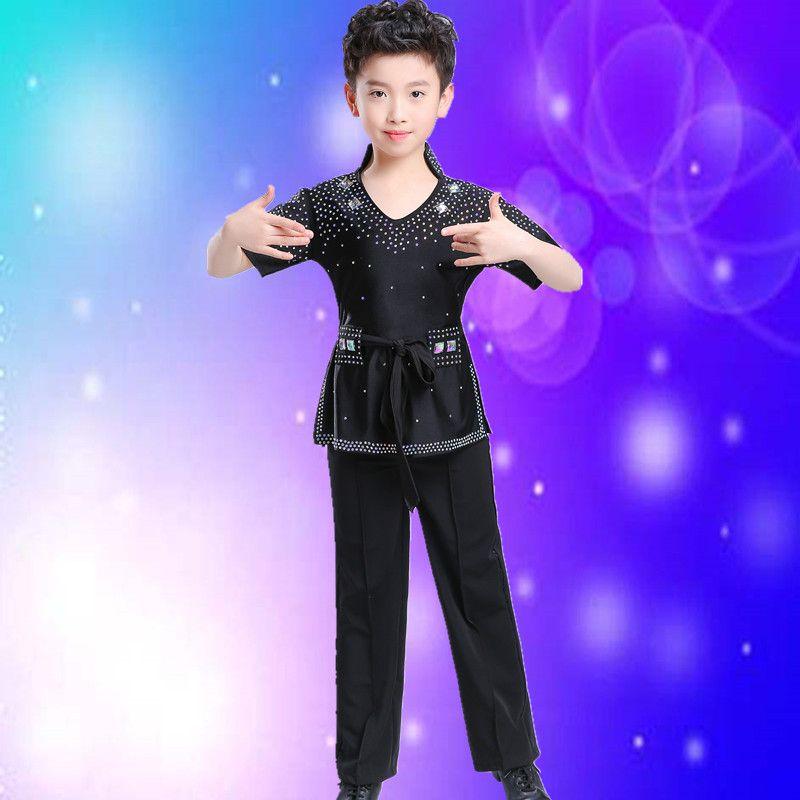 ac343b991ab69 2018 New Boys White Black Dance Shirt Competition Performance Modern ...